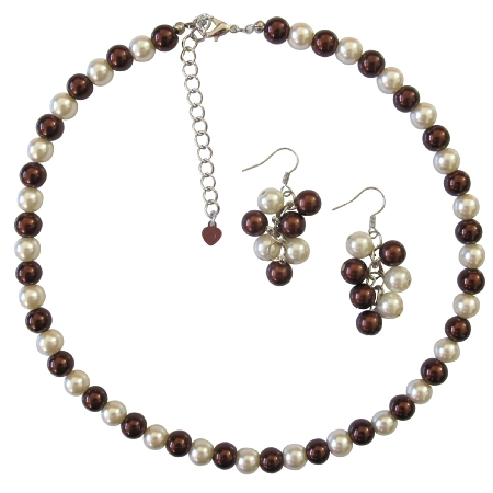 Burnt Brown Pearl Affordable Wedding Ivory & Brown Pearls Jewelry Set