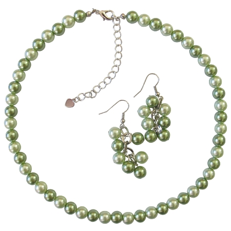 Honeydew & Green Wedding Jewelry Set Affordable Necklace Earrings Set