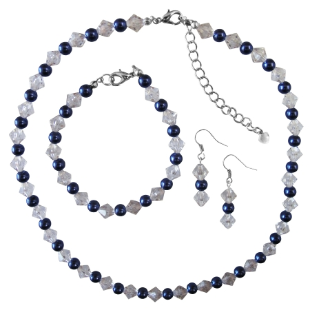 Navy Blue Pearls Clear Glass Crystals Necklace Earrings Bracelet Wedding Set