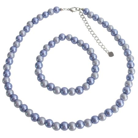Wedding BridesmaidCheap Affordable Jewelry In Lilac And Victorian Lilac Necklace & Stretchable Bracelet Set