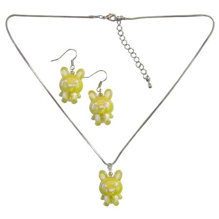 Yellow Rabit Easter Jewelry Set Necklace & Earrings Wonderful Gift
