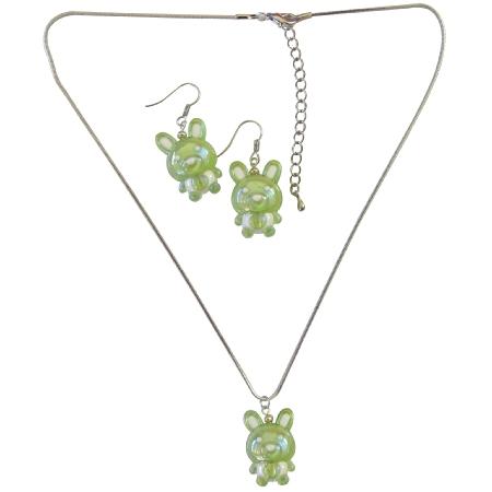 Green Rabit Easter Necklace & Earrings Cute Easter Gift Girls Jewelry