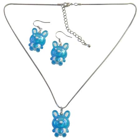 Easter Blue Rabit Necklace & Earrings Cute Easter Gift Girls Jewelry