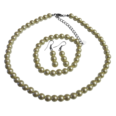 Wedding Pearl Jewelry Set Ivory Pearl Complete Set With Bracelet