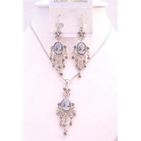 Pendant Necklace & Earrings Dangling Earrings Grey Cameo Jewelry Set