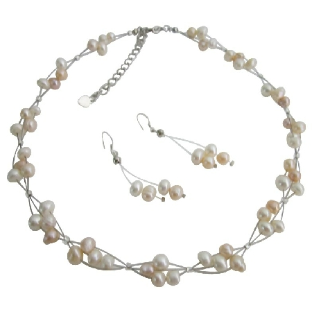 Bridal Bridemaid Wedding Jewelry Peach Freshwater Pearls Ivory Necklce