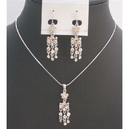 Pendant Earrings Dangling Necklace Fully Embedded w/ Cubic Zircon