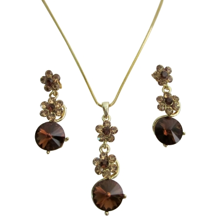 Gold Chain Necklace Light Dark Smoked Topaz Crystals Wedding Jewelry