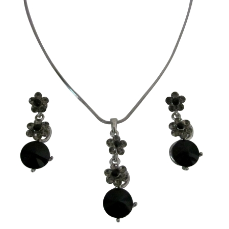 Formal Wear Jewelry Set Bridal Necklace Set Jet Black Crystals Flower Necklce Set Jet Black Crystal surgical Post Dangling Wedding Jewelry