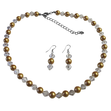 Clear Crystals Hazle Color Bridesmaid Jewelry Golden Pearl Faux Pearls & Chinese Crystals Dainty set