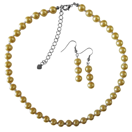 Yellow Pearl with Glass Beads Beautiful Gorgeous Necklace Set Wedding Bridal Bridesmaid Party Jewelry