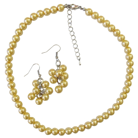 Soothing Pure Yellow Pearls Color Wedding Yellow Dress Jewelry Set