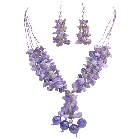 Amethyst Stone Nugget Woven In Silk Thread Jewelry Silver Earrings Set