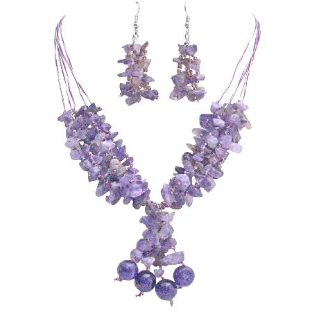 Amethyst Stone Nugget Woven In Silk Thread Jewelry Silver Earrings Set