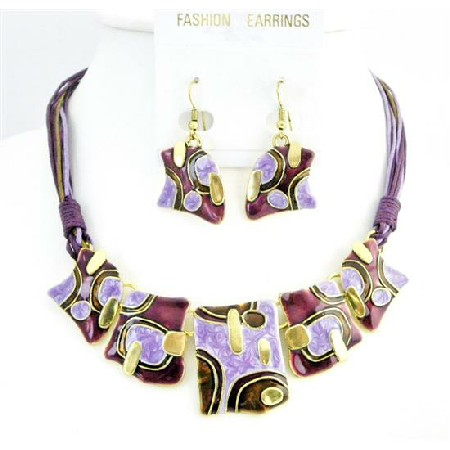 Golden Tone Enamel Lite & Dark Purple Necklace Set Ethnic Jewelry