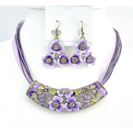 Purple Jewelry Multistring Necklace w/ Flower Enamel Pendant Jewelry