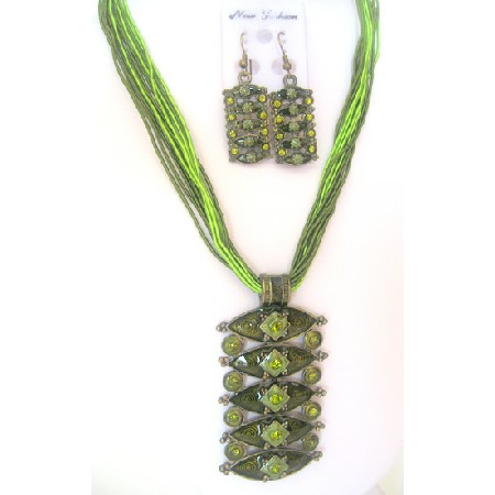 Olivine Green Jewelry Multistring Necklace Enamel Pendant Rhinestones