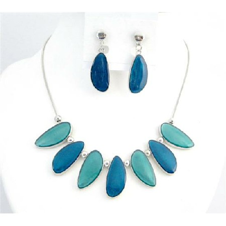 Sea Turquoise Painted Enameled Leaf Shape Necklace Turquoise Dark Blue