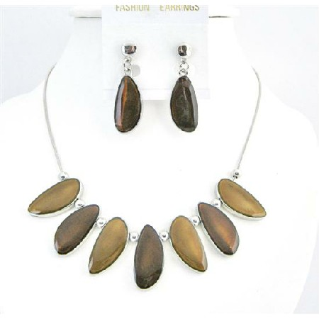 Brown Leaf Beads Jewelry Painted Enameled Leaf Shape Necklace Set