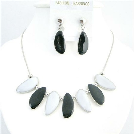 Leaf Shaped Jewelry Ethnic Painted Black & White Leaf Necklace Set