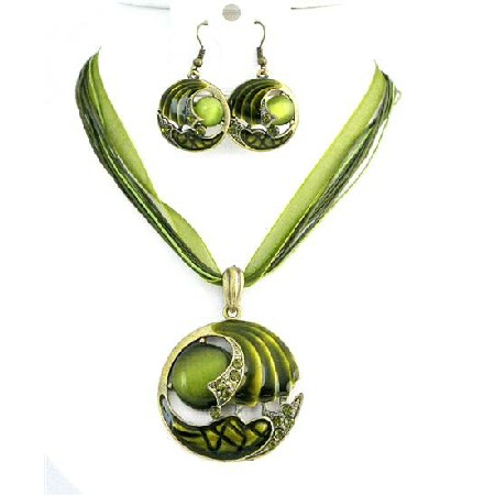 Green Cat Eye Glass Bead Necklace Set Olivine & Dark Olivine Jewelry