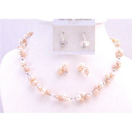 Peach Ivory Freshwater Pearl Jewelry Set Multi Strand Sterling Silver Earrings