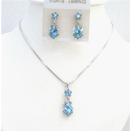 Aquamarine Crystals Inexpensive Bridesmaid Bridal Wedding Jewelry Set