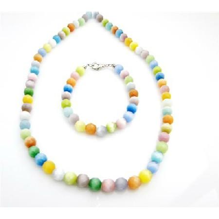 8mm Multifaceted Multicolor Cat Eye Glass Beads Necklace Bracelet Set