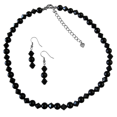 The Least Expensive Pearl Wedding Bridesmaid Party Jewelry Black Pearl And Black Crystal Necklace Sety