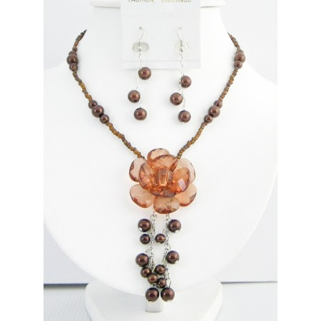 Smoked Topaz Brown Necklace Brown Beads Pearls Dangling with Flower And Matching Brown Pearl Earrings