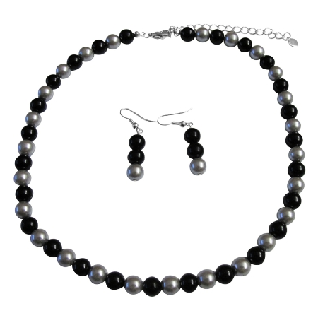 Share In The Secret Of Our Silver & Black Pearl Jewelry Set At Reasonable Under Necklace Set