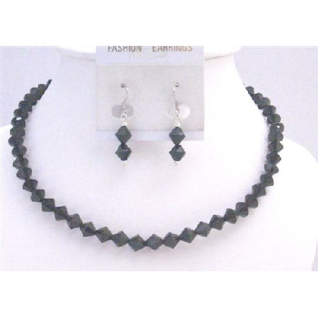 Black Crystals Necklace 6mm Bicone Crystals Jewelry Wedding Jewelry