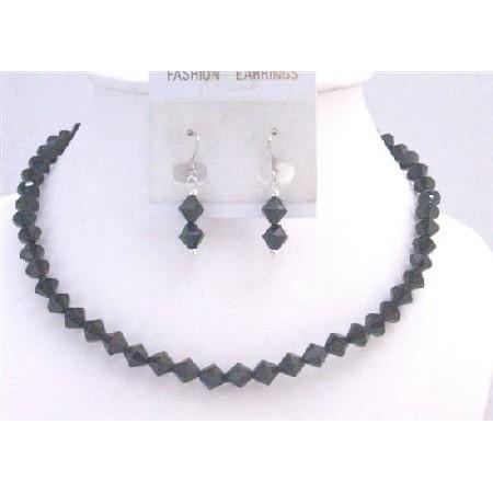 Black Crystals Necklace 6mm Bicone Crystals Jewelry Wedding Jewelry
