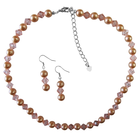Peach Pearl And Chinese Orange Crystal Necklace Set Pearls perfect to Stand