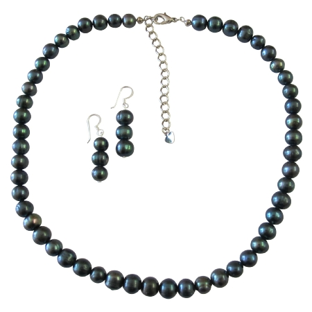 Bridal Attire Metallic Black Freshwater Pearl Jewelry Sets with Stylish Finishing Touch