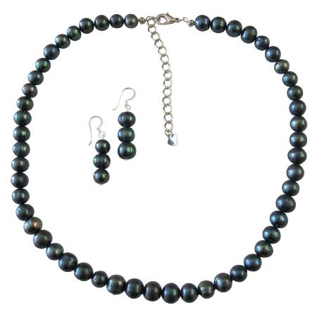 Bridal Attire Metallic Black Freshwater Pearl Jewelry Sets with Stylish Finishing Touch