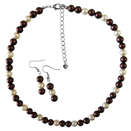 Burnt Brown Pearl Necklace Set with Ivory Pearl Under $10 Wedding Jewelry Set