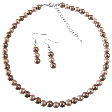 Under Girls Gift Necklace Set Champagne Pearl & Bronze Pearls Prom Jewelry Set