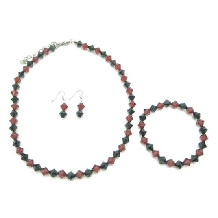 Red And Black Crystal Complete Set Wedding Chinese Black Red Crystals Under Jewelry Gift Affordable Necklace Set