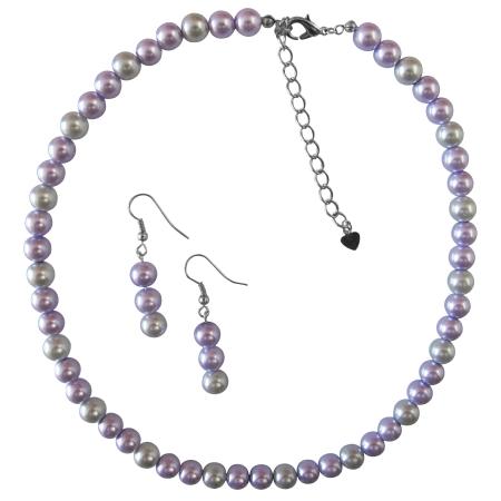 Striking Lilac & Silver Pearls Combo Jewelry Set Bridal Wedding Set