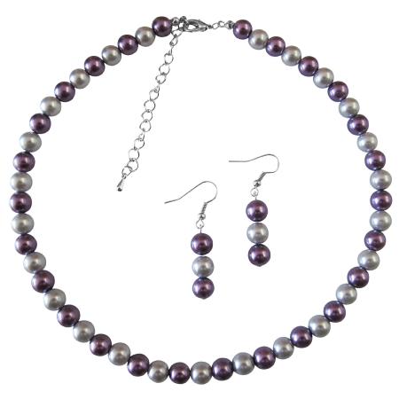 Victorian Lilac & Silver Pearls Necklace Striking Bridal Wedding Set