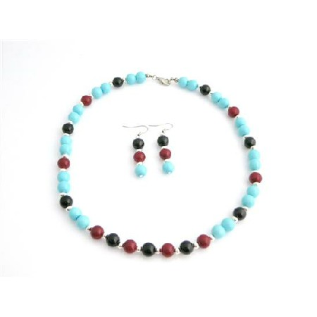 Vintage Jewelry Turquoise Coral & Black Pearls & Silver Beads Jewelry