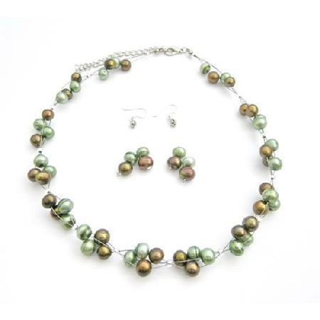 Handmade Interwooven Bronze Green Freshwater Pearls Bridesmaid Jewelry