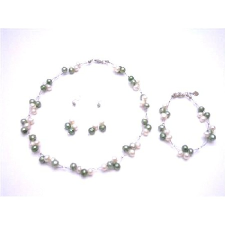 Customize Your Wedding Prom Flower Girl Jewelry Freshwater Pearl Green Ivory Complete Set