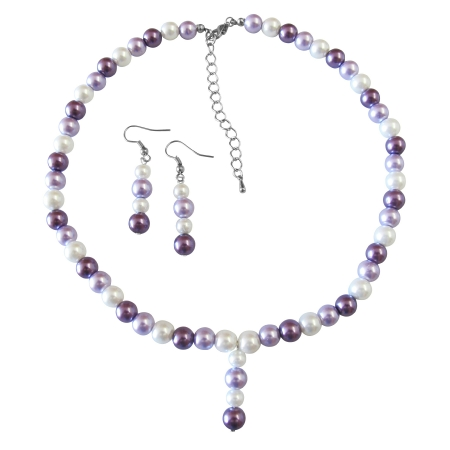 Drop Down Prom Necklace Set Purple Lilac & White Pearls Necklace Set