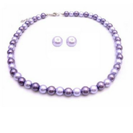 Affordable Inexpensive Pearl Wedding Jewelry Lilac & Purple Stud Earrings Necklace Set