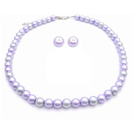Pearls Wedding Jewelry Set Lilac & Silver w/ Stud Earrings
