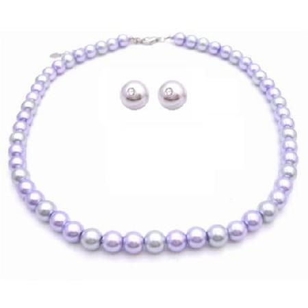 Pearls Wedding Jewelry Set Lilac & Silver w/ Stud Earrings