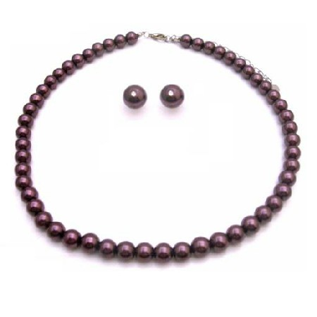 Bridesmaid Gifts Bridesmaids Jewelry Pearl Bridal Jewelry Dark Purple Pearl Jewelry Set
