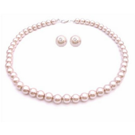 Bridal Shower Gifts Pearls Jewelry Champagne Pearls Necklace Set
